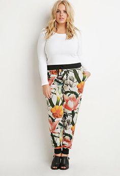 yes, please.  Plus Size Floral Print Sweatpants | Forever 21 PLUS - 2000157782