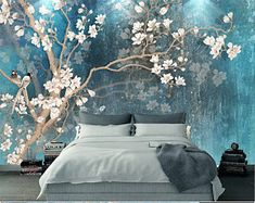 Blue Color Magnolia Flowers Wallpaper Wall Murals, Birds & Flowers Tree Hand Painting Classic Vintage Wall Decal Wall Stickers - Details: I can do custom designs and sizes, if you need customized, you can contact me. Wallpaper Wall, Flower Wallpaper, Custom Wallpaper, Photo Wallpaper, Painted Wallpaper, Wall Stickers, Wall Decals, 3d Wall, Tree Wall Murals