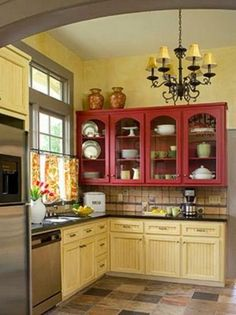 Painting kitchen cabinets red cabinets ideasPainting kitchen cabinets red cabinets ideas kitchen red kitchen ideas with red cabinets (photos a white kitchen with a red island that I think looks really Country Kitchen Designs, French Country Kitchens, French Kitchen, Country French, Country Style, Red Cabinets, Painting Kitchen Cabinets, Kitchen Colors, Kitchen Decor