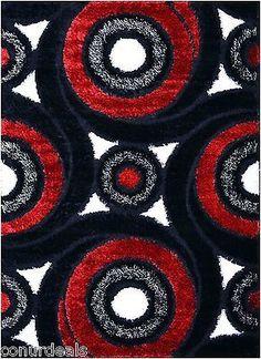 Black White Red Grey Swirl Shags Shag Area Rugs Shaggy Rug 3x5 3x7 ...