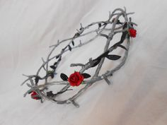 Barbed Wire Crown of Thorns Silver Black Leaves Red by FlowerFair, $40.95