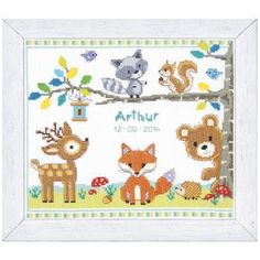 Forest Animals Birth Record - Cross Stitch, Needlepoint, Embroidery Kits – Tools and Supplies