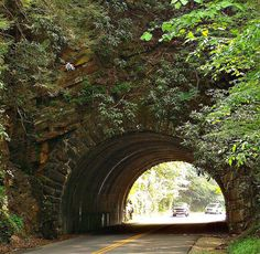 Light at the End of the Tunnel - this tunnel is between Townsend and Cades Cove in East Tennessee in the foothills of the Smoky mountains. I LOVE Cade's Cove! Townsend Tennessee, East Tennessee, Wonderful Places, Beautiful Places, Beautiful Boys, Tunnel Of Love, Portal, Mountain Vacations, Tennessee Vacation