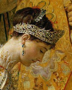 labellefilleart: A Coroação de Napoleão, detalhe de Josephine, Jacques-Louis David