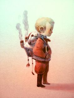 art, spot illustration, figure, child, boy, side, jet pack,  //  Romain Mennetrier