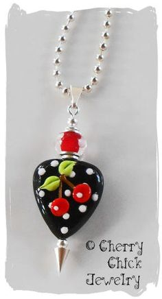 Lampwork Cherry Heart Necklace by CherryChick on Etsy