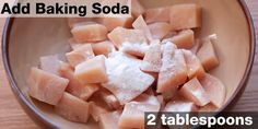 Baking soda raises the alkalinity of the meat, making it more resistant to stiffening while cooking. However, because it leaves a strong taste, you need to more careful with how much and how long you use it. If you're only using baking soda, don't marinate for longer than 15 minutes. Or, you can add lemon or lime juice to offset the taste of baking soda.