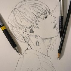 {Jungkook Fanart🐇} finally a post for 2019 😂.i really wanted to draw some silly poses of the guys but artblocked for now. Kpop Drawings, Art Drawings Sketches Simple, Pencil Art Drawings, Jungkook Fanart, Kpop Fanart, Drawing Techniques, Art Sketchbook, Fan Art, Beautiful