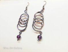 Minimalist hoop wire earrings, amethyst earrings, oxidized copper wire / retro steampunk victorian jewelry, handmade wire wrapped jewelry