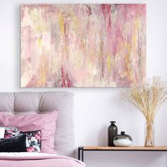 Blush Gold Landscape Abstract canvas art with shades of pink and gold in a contemporary bedroom. Blush Gold Landscape Wall Art by Tre Sorelle Studios from Great BIG Canvas. Add some romance to your walls with abstract wall decor from Great BIG Canvas. Pink Abstract, Abstract Canvas Art, Diy Canvas Art, Wall Canvas, Floral Canvas Wall Art, Abstract Paintings, Abstract Portrait, Canvas Art Prints, Contemporary Abstract Art