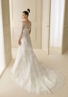 Dramatic Organza A-Line Floor-Length Chapel Train Off the Shoulder Wedding Dress - newdress2014.com