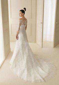 Dramatic Organza A-Line Floor-Length Chapel Train Off the Shoulder Wedding Dress - newdress2014.com