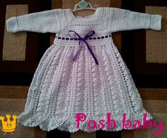 Baptism crocheted dress with lining