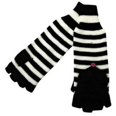 Long Black & White Stripe Fingerless Mitten Gloves ($12) ❤ liked on Polyvore featuring accessories, gloves, women, striped gloves, black and white striped gloves, white and black gloves, striped fingerless gloves and fingerless mitten gloves