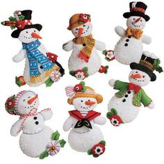 Let It Snow Ornaments Bucilla Felt Applique