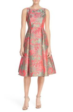 Free shipping and returns on Adrianna Papell Metallic Jacquard Fit & Flare Dress at Nordstrom.com. Incredible metallic jacquard crackles with texture, shine and color throughout this tea-length cocktail dress flared by inverted pleats.