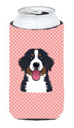Checkerboard Pink Bernese Mountain Dog Tall Boy Beverage Insulator Hugger BB1237TBC