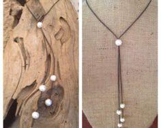 Collar ajustable cinco Frop perlas y cuero por ChristianOPearls