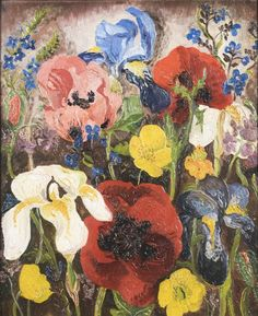 Sir Cedric Morris Flowers Unsigned Oil on panel 53 x 43 cm Art Floral, Flower Painting Images, Flower Paintings, Iphone Wallpaper Ios, Aesthetic Room Decor, Painting Inspiration, Garden Art, Painting & Drawing, Modern Art