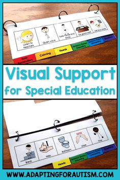 Behavior Management: Visual Aid Flip Book Try this behavior management flip book for your special education classroom. Give students this communication tool for rule reminders, calm down supports, and expressing needs. Using visual supports. Preschool Behavior Management, Special Education Behavior, Kindergarten Special Education, Behavior Management System, Autism Education, Autism Resources, Education City, Education Conferences, Education Galaxy