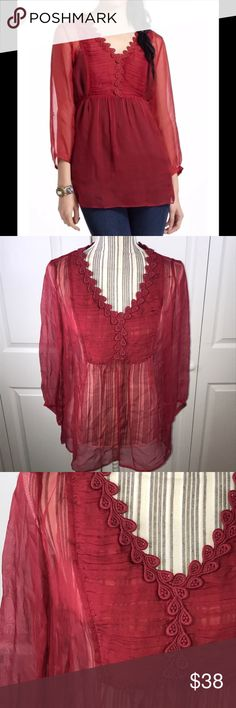 """[Anthro] Meadow Rue Misha Peasant Top Anthropologie Meadow Rue Misha Peasant Top  Sz 2  19"""" Pit to Pit 25"""" Long  •D19 Anthropologie Tops Blouses"""