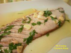 Mi cocina: VENTRESCA DE ATUN ROJO A LA PLANCHA CON AJOS, LIMON Y PEREJIL