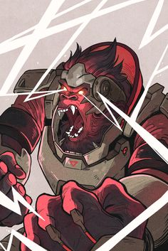 """Winston Overwatch by Picolo-kun   """"When I was drawing Winston I wanted to bring to life this animal nature that makes him unique. Thus I chose to illustrate his """"Primal Rage"""" mode with loads of brutal force and primal energy."""" —Picolo-Kun"""