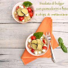 Insalata di bulgur con pomodorini, feta e chips di melanzane  Bulgur Salad with Cherry Tomatoes, Feta and Eggplant chips