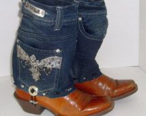 Up-Cycled Jean Top Cowboy Boot Size 8.5 (JB54)