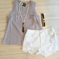 Kalua White Denim Shorts