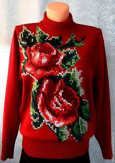 Купить джемпер вязаный женский Розы с ручной вышивкой - ярко-красный, цветочный, джемпер вязаный