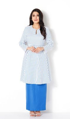 First Lady mix stripe print plain modern baju kurung