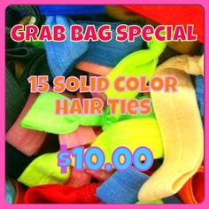 15 Hair Ties for $10.00  Today ONLY...5/24/13!  https://www.facebook.com/pages/BowHead/197287539277