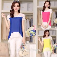 Women's Casual Chiffon Shirts Short Sleeve Blouses Female Loose Patchwork O-neck Short Shirts Tops for Lady Summer New Fashion