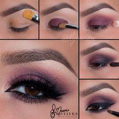 Purple Wedding Makeup For Brown Eyes – Make Up for Beginners & Make Up Tutorial Purple Wedding Makeup, Wedding Makeup For Brown Eyes, Purple Eye Makeup, Skin Makeup, Bridal Makeup, No Make Up Make Up Look, Eye Make Up, Pretty Makeup, Love Makeup