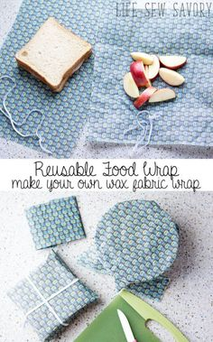 "Sewing Fabric Storage reusable food wraps for easy environmentally friendly food storage - Emily from Life Sew Savory shares a tutorial for making reusable food wraps from waxed fabric. If you're thinking, ""But I don't have any waxed fabric!"", don't worry Food Storage, Bag Storage, Storage Ideas, Bees Wax Wraps, Bees Wrap, Bees Wax Wrap Diy, Reusable Food Wrap, Diy Reusable Sandwich Bags, Reusable Things"