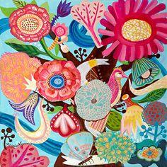 Pintura de flores pintura de aves bohemio folk por BohoGarden, $250.00