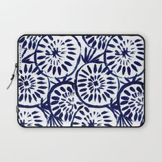 Painted Medallions Navy Laptop Sleeve by CRYSTAL WALEN | Society6