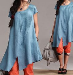 Blue+cotton+summer+dress+folds+/+leisure+loose+by+dreamyil+on+Etsy,+$70.00