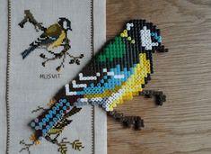 Perler bead bird  | annauno Melty Bead Designs, Melty Bead Patterns, Pearler Bead Patterns, Perler Patterns, Beading Patterns, Hama Beads Animals, Beaded Animals, Fuse Beads, Perler Beads