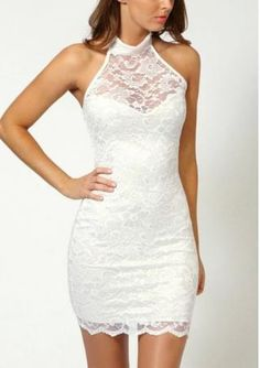 Women's perspective hang neck sleeveless hip-hugger lace bodycon dresses