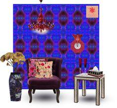 """SPIRITUAL_in violet MiuRiO Decor wallpaper interior design set"" by miuriodecor on Polyvore"