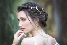 Grandes feuilles & Couronne de perles, Accessoires cheveux mariée, pièce tête Bohème, feuilles d