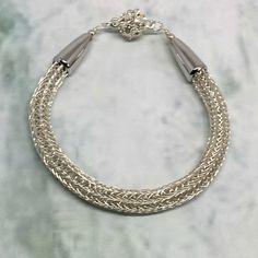 Simple and elegant Ladies silver Viking Knit bracelet