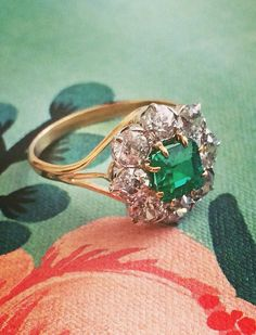 Emerald + Diamond Ring: So beautiful. Emeralds are so unique. So are pink diamonds. A bit of colour is just perfect for this engagement ring.