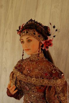 """Купить Кукла""""Гранат"""" - бордовый, кукла интерьерная, ручная авторская работа, полимерная глина цернит (cernit)"""