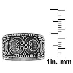 Women's Journee Collection Circular Bali Design Wide-Cut Ring in Sterling Silver - Silver, 7, Gray