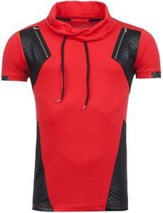 R&R Mens Pit Mock Neck Shirt - Red