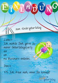Einladung Kindergeburtstag Schwimmen Basteln