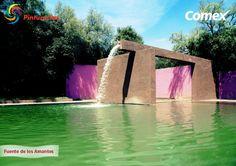 Diseño y colorido mexicano se muestra en la Fuente de los Amantes, diseñada por del arquitecto Luis Barragán, y ubicada en Club de Golf La Hacienda en el Estado de México. #ColoresDeMiMéxico